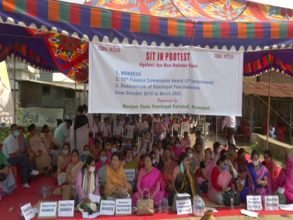 Manipur Panchayat Parishad members protest for release of MGNREGS fund