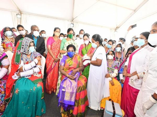 Telangana Governor takes second dose of COVID-19 vaccine among members of tribal community