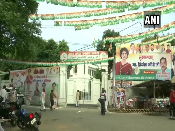 Posters welcoming Priyanka Gandhi Vadra installed at Lucknow Cong office ahead of her visit