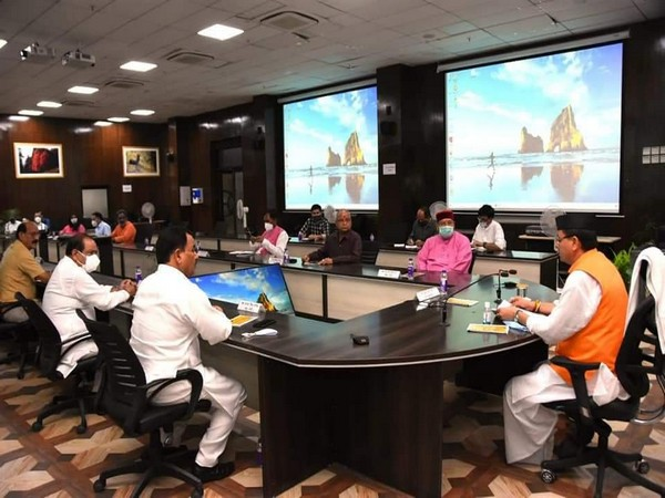 Newly-appointed Uttarakhand CM Pushkar Singh Dhami chairs his first cabinet meeting