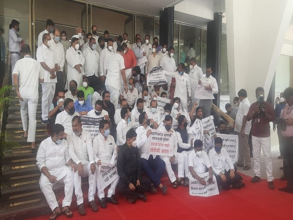 BJP stages protest outside Maharashtra Legislative Assembly on OBC reservation, farmers' issues