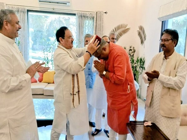Union Minister Bhupender Yadav meets BJP chief JP Nadda